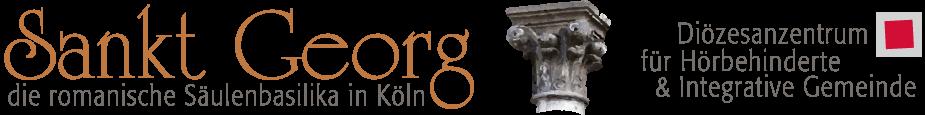 Logo St. Georg Köln mit dem Hinweis auf das Diözesanzentrum für Hörbehinderte & Integrative Gemeinde